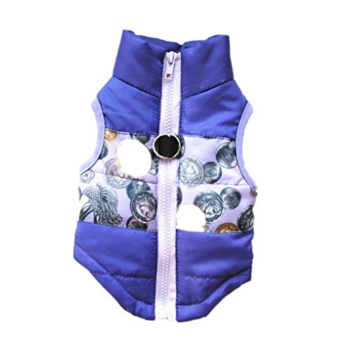 CieKen Winter Waterproof Windproof Reversible Dog Vest Coat Warm Dog Vest For Cold Weather Dog Down Jacket For Small Medium Dogs (Purple, M) - Petsafe Dog Vest
