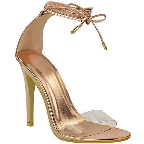 Thirsty à Transparents chromé Fashion Talons Brides Hauts doré Femme Sandales Très Plexiglas Fines métallisé Rose en fCCwqR