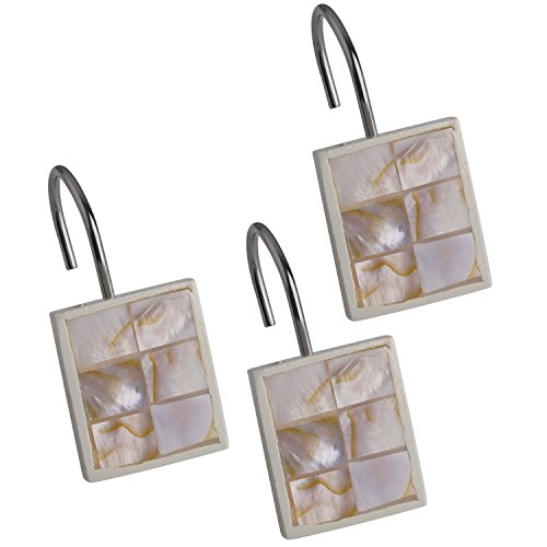 Creative Scents Shower Curtain Hooks - Set of 12 Shower Rings for Bathroom Shower Curtain Rod - 100% Rust Proof - Milano Collection (Mother of Pearl)