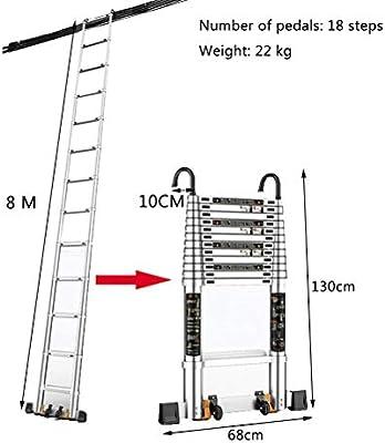 Escaleras telescopicas aluminio 26 pies de escalera, escalera de aluminio telescópico con desmontable Hook, estabilizador, ruedas y Bottom Rung, 18 Paso Escaleras telescópico 440 libras Capacidad: Amazon.es: Hogar