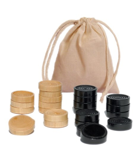 (WE Games Wood Checkers with Stackable Ridge - Black and Natural Wood - Approx.1.06 inches in Diameter)