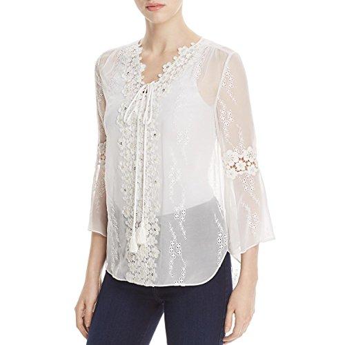 Elie Tahari Womens Mirra Silk Lace-Trim Peasant Top White M by Elie Tahari
