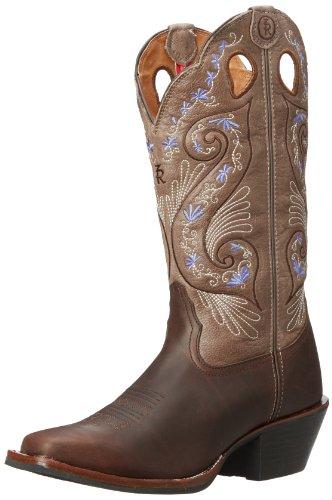 Tony Lama Western Boots Womens Buckaroo Heel Brown Beige RR2