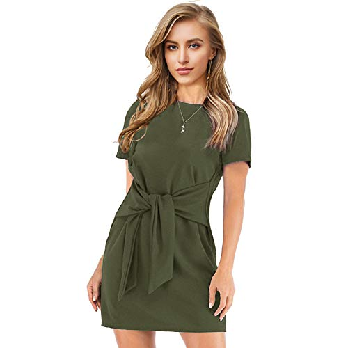 (Longwu Women's Loose Casual Front Tie Short Sleeve Bandage Dress for Party Work Summer Green-XL)