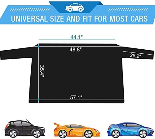 Oversized Waterproof Car Snow Ice Removal Cover with Anti Scratch Design Double Side Design Extra Large Car Rear Windshield Snow Cover Windscreen Protector Shield Guard with 4 Magnets