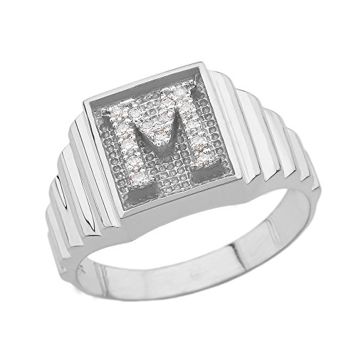 Men's 14k White Gold Layered Band Square Face Diamond Initial Letter Ring (Size 14.5) 14k Gold Diamond Name Ring