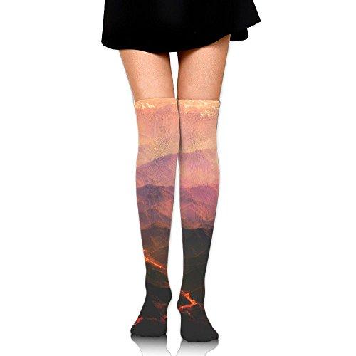 Neon Lava Tube - Volcanic Lava Print Casual Knee High Socks Fashion Athletic Stockings