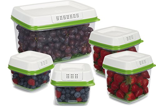 Rubbermaid FreshWorks Produce Saver Food Storage Containers, Set of 5