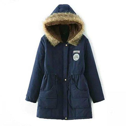 Long Outwear Pink Hooded Women's Down Parka Fur Slim Collar Navy Warm Jacket Coat Manadlian XL OvqnCIF