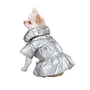 Zack & Zoey Polyester Razzle Dazzle Puffy Dog Coat, XX-Small, Platinum
