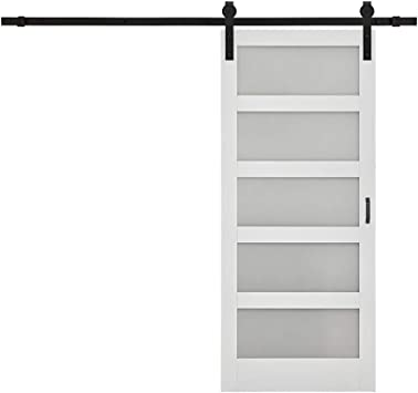 Amazon Com Tenoner Diy Glass Sliding Barn Door 36 Inches X 84 Inches White With Barn Door Hardware Kit Home Improvement