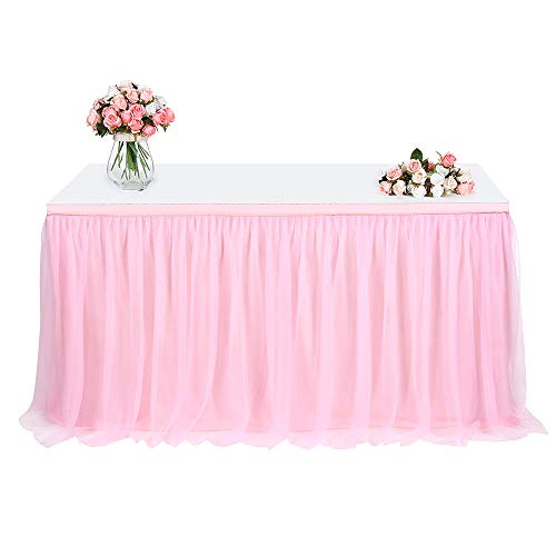 Tulle Table Skirt, FAMIROSA Tutu Tablecloth Skirting for Rectangle or Round Tables for Party, Wedding, Banquet, Baby Shower Christmas, Home Decoration (L4(ft) H30in, Pink) -