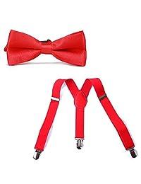 HDE Kid Boys Adjustable Y Back Clip Suspenders Matching Pre Tied Bowtie Set (Red)