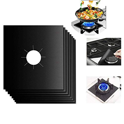 Stove Burner Covers, FunCase 8pcs Reusable Gas Stove Burner Liners, Non-stick Protectors for Gas Stove Easy to Clean, Cuttable, Dishwasher Safe, Heat Safe - Black (10.6x10.6inch) - Non Stick Liner Covers