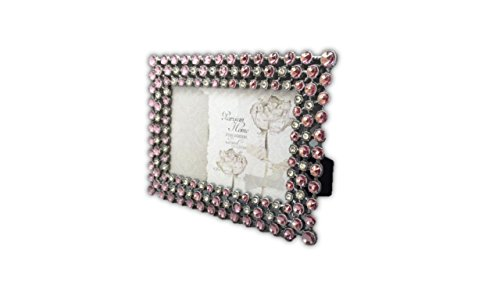Rhinestone Jeweled Silver Pink & Clear 4 x 6 Picture Frame Vintage Antique Look