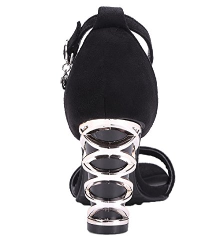 Unie Boucle Noir CCAFLP014100 Sandales à d'orteil Talon Couleur Haut Femme Ouverture VogueZone009 YaqS6x