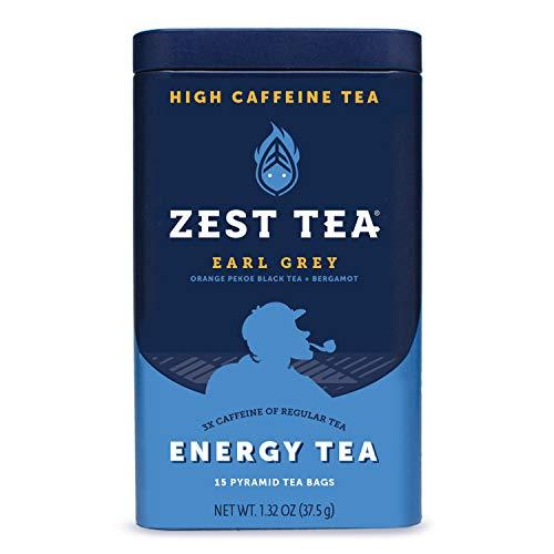 Zest Tea Premium Energy Hot Tea, High Caffeine Blend Natural & Healthy Traditional Black Coffee Substitute, Perfect for Keto, 150 mg Caffeine per Serving, Earl Grey Black Tea, Tin of 15 Sachet Bags