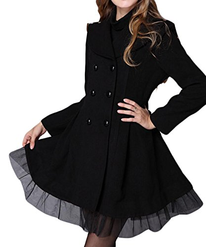 GAGA Women's Lace Double-breasted Wool Trench Coat Jacket Black S