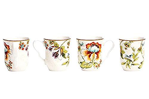 (222 Fifth Bella Vista Floral Blooms Mugs/Cups for Coffee, Tea or Latte (Set of 4) 12 oz. | Fine Porcelain)