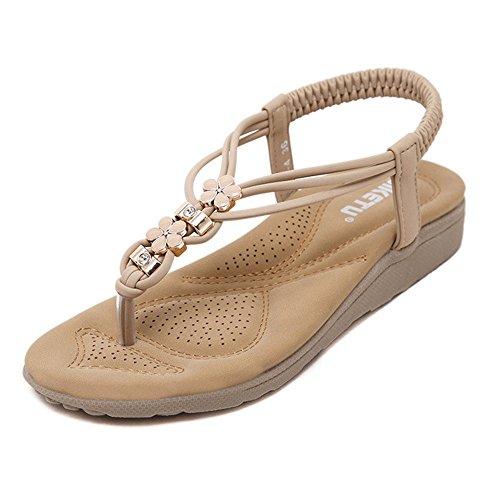 Hunpta Frauen Bohe Rhinestone Art und Weiseflache große Größen beiläufige Sandelholz Strand Schuhe Khaki