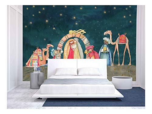 wall26 - Illustration Christian Christmas Nativity Scene with the Three Wise Men - Removable Wall Mural | Self-adhesive Large Wallpaper - 100x144 inches