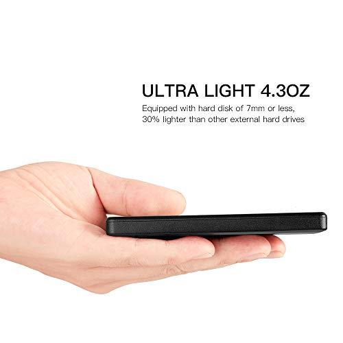 2.5'' Ultra Slim Portable External Hard Drive 9mm USB3.0 HDD Storage (250GB, Black) by TEYADI (Image #2)