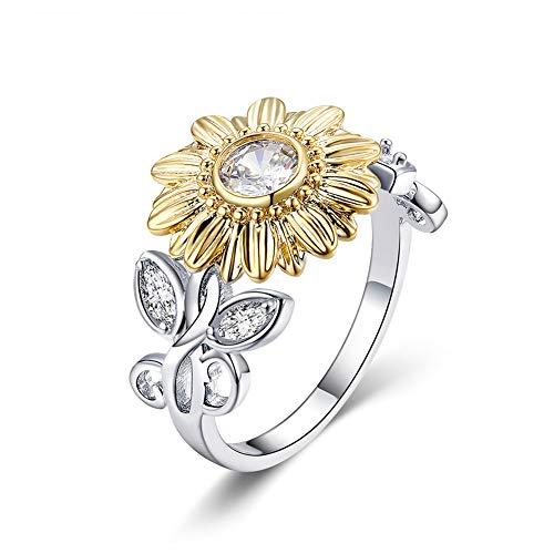 BAMOER 925 Sterling Silver Rings Gold Sunflower Rings Vintage Rings for Women Size 6-8