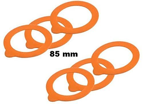 (Set of 6-85 mm Rubber Jar Gaskets - Fits Le Parfait Canning and Storage Jars)