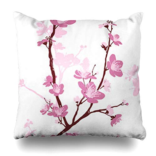 Hitime Throw Pillow Cover Floral Pink Pattern Styled Spring Cherry Blossoms Nature Japanese Tree Flower Chinese Branch Retro Easter Decorative Pillowcase Square Size 20 x 20 Inches Home Cushion Cases