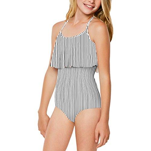 Highway Stripe (O'Neill Big Girls' Highway Stripe One Piece Swimsuit, White With Black, 14)