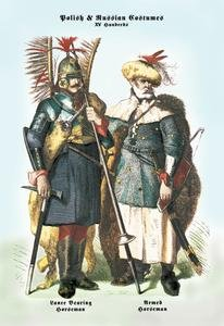 Russian Costumes Images (Polish and Russian Costumes: Lance Bearing and Armed Horsemen Paper poster printed on Fine Art Canvas Print (20