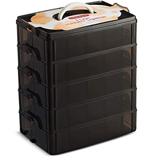 LifeSmart USA Stackable Storage Container Black 50 Adjustable Compartments...