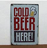 Cold Beer Here Painting Tin Sign Bar Pub Home Wall Decor Retro Metal Art Poster