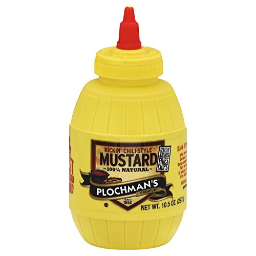Plochman's Flavored Yellow Mustard, Kickin' Chili-Style Mustard, 10.5-Ounce Squeeze Barrels (Pack of 6) (Best Chili For Chili Dogs)