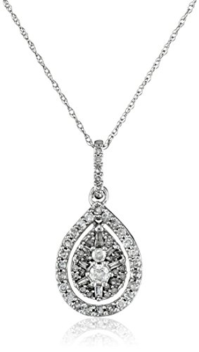 10k White Gold Diamond Pendant Necklace (1/2 cttw, H-I color, I2-I3 clarity), 18""