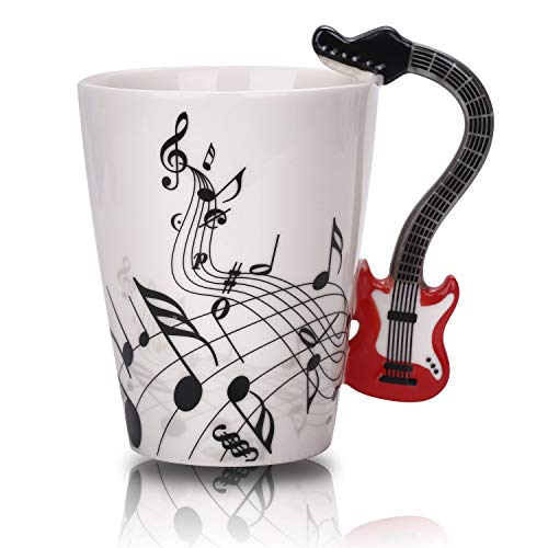 - Guitar Music Mug Unique Handle Art Musical Notes Holds Tea Coffee Milk Ceramic Mug Cup 12.9 oz Christmas Birthday Best Gift (Red)