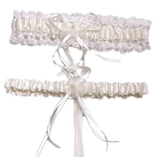 YABINA Wedding Accessories Lace Garter for Bridal (White)