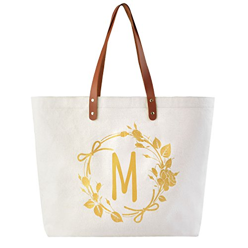 ElegantPark M Initial Personalized Gift Monogram Tote Bag with Interior Zip Pocket Canvas -