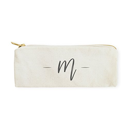 The Cotton & Canvas Co. Personalized Handwritten Monogram Pencil Case, Cosmetic Case and Travel Pouch for Office and Back to School -