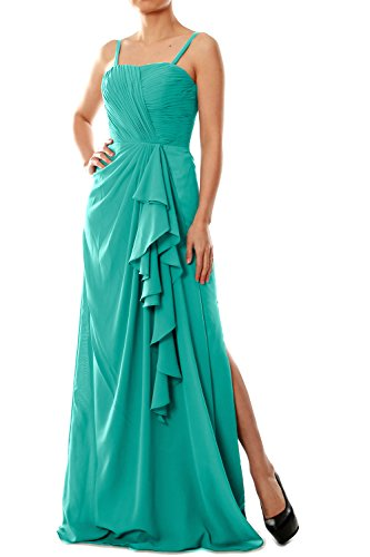 MACloth Women Spaghetti Straps Long Chiffon Bridesmaid Dress Formal Evening Gown Turquesa