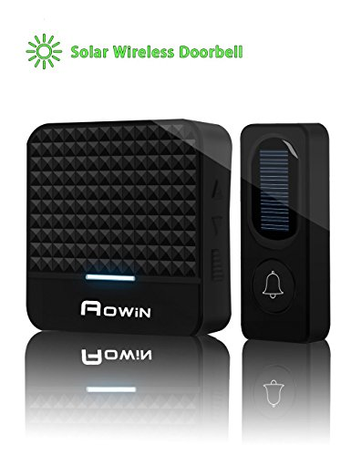 Solar Wireless Doorbell Kit With 2 LED Night Light, Rechargeable Waterproof Smart Doorbell With 1000ft Range, 52 Chimes, 4 Adjustable Volumes, Easy To Install