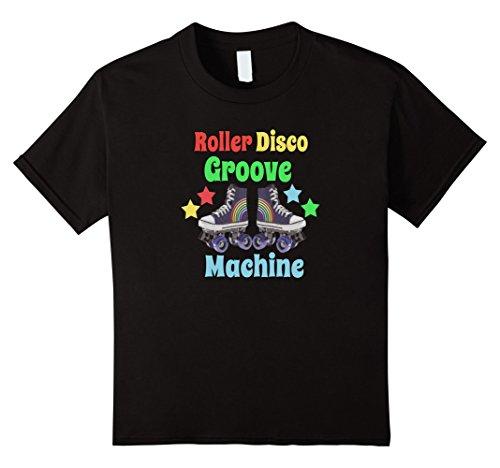Kids Roller Disco Groove Machine Retro 80's Roller Skate Shirt 6 Black