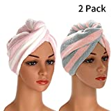 2 Pack Microfiber Hair Drying Towels, Fast Drying Hair Cap, Long Hair Wrap,Absorbent Twist Turban(Rainbow)