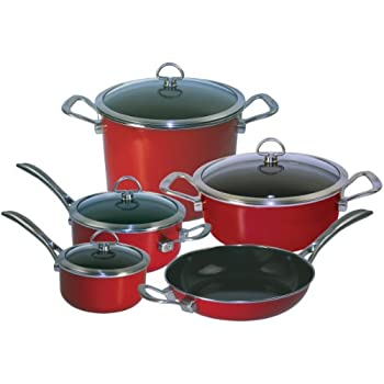 Chantal 9-Piece Copper Fusion Cookware Set-Chili Red, Dishwasher safe