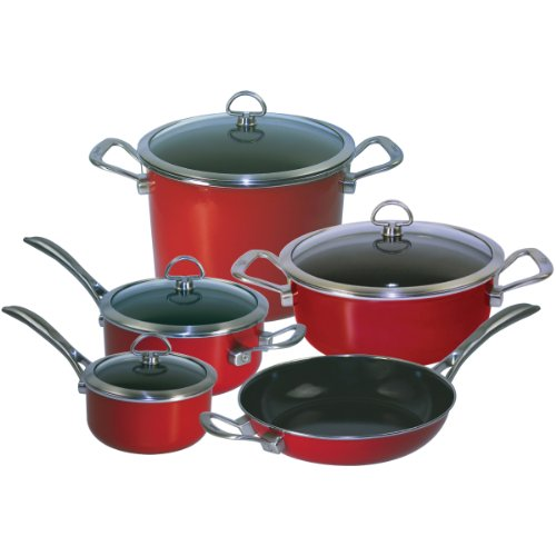Chantal 9-Piece Copper Fusion Cookware Set-Chili Red, Dishwasher safe ()