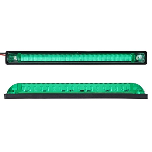 Partsam 6x 8''x1'' Submersible Green Slim Line Led Utility Strip Lights 18 Diodes Marine Boat by Partsam (Image #2)