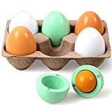 StillCool Wooden Toys for 3 Year Old, Pretend Play Food Set for Kids Play Kitchen, 6 Cuttable Toy Eggs Idea for Boy Girl Easter Birthday Gift