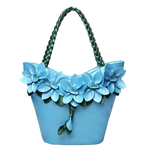 Shoulder Handbag Bag Blue Bags Girls Kaxidy Pu Flower Ladies Satchel Messenger Handbags Leather x6BYXa