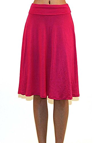 Vivicastle Women's Basic Fold-Over Stretch Midi Knee Length Flare Skirt - Made in USA (Small, K9, Magenta)