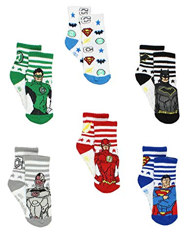 Justice League Toddler Boy's Athletic 6 pack Crew Socks with Grippers (4T-5T, White/Multi)]()